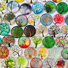 ZEROUP 12mm new tree branches round glass cabochon mixed patterns fit cameo base for jewelry embellishment flatback 50pcs/lot