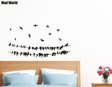 Mad World-Birds on Powerline Animal Bird Wire Wall Art Sticker Wall Decal Home DIY Decoration Removable Room Decor Wall Stickers()