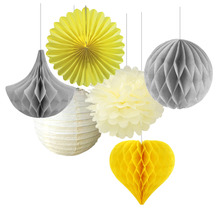Mix and Match Paper Decoration Set ( Honeycomb Ball/Heart/Drop/Pinwheel/Pom Pom) for Birthday Showers Wedding Space Decor