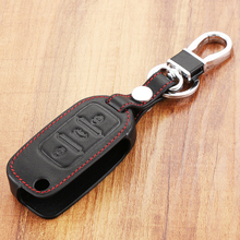 Special offer 100% leather car key case cover for Volkswagen VW Jetta MK6 Tiguan Passat Golf 4 5 6 POLO cc bora Skoda 3 buttons(China)