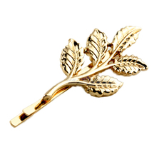 Fashion Lovely Women Girl Alloy Golden Leaf Hair Clip Pin Accessory Xmas Gift(China)