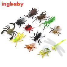 12pcs/set Plastic Insect Model Simulation Insect Hornet Cockroach Mantis Flies Scorpion Cicada Dragonfly Children's Toys ingbaby