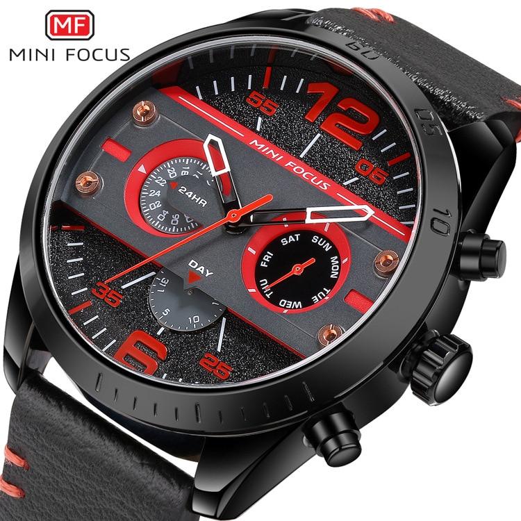 mens sports wristwatches quartz genuine leather Multifunction man watches waterproof calendar week MINI FOCUS brand male clocks<br>