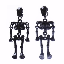 Fashion Punk Skull Skeleton Full Black Cool Stud Long Earrings For Boys Girls Funny Earrings Skeleton Brinco AE121(China)