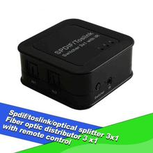 Hot Sale Digital SPDIF/Toslink/Optical Audio Splitter Switch 3X1 Fiber Optic Splitter Adapter with IR Remoter Control