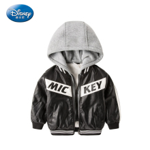 Disney Mickey Mouse Print Children's Leather Jacket Boy Winter Baby Hooded Leather Thicker Jacket 2017 New Style Fashion Jacket(China)