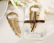 "100pcs/LOT Unique Wedding Souvenirs ""Gilded Gold"" Feather Bottle Opener Kids Birthday Party Favors(China)"