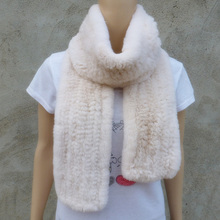 Winter Women Real Natural Rex Rabbit Fur Scarves Real Rabbit Fur Long Neck Warm Wraps Shawls Stole FRS003