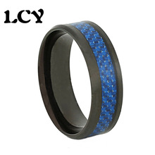 Dark Blue Carbon Fiber Inlay Spikes Stainless Steel Ring Metal Rings Jewellery Anillos Anel Vintage Bague Jewelry Anelli Aneis