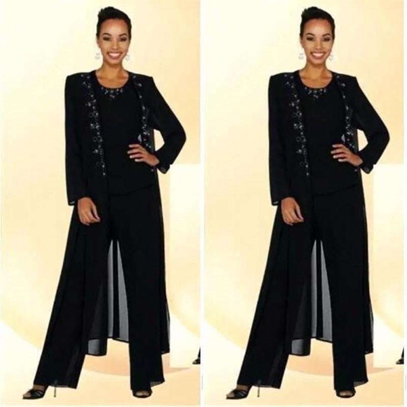 2018 Modest Navy Blue Three Pieces Mother Of the Bride Plus Size Pant Suit Beaded Applique Mothers Suit With Lace Jacket BA8898