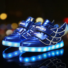 Spring Autumn Fashion Children Shoes With Light Sneakers Kids USB Charging Shoes Girls Boys Casual Sports Shoes With Wings(China)
