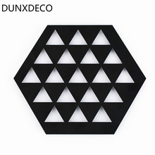 DUNXDECO Pot Pad Black Iron Table Placemat Gemetric Bowl Plate Holder Desk Accessories Modern Nordic Decoration Gift(China)