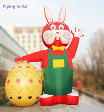 Outdoor 6m Decorative Red Inflatable Easter Rabbit with Egg for Easter