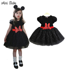 2017 Summer Autumn Infant Cotton Baby Girl Clothing Minnie Dress Dots Princess Party Dresses For Girls Cartoon Mouse Dress Girls
