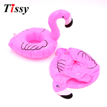 Wholesale!6PCS/Lot Mini Flamingo Floating Inflatable Drink Can Cell Phone Holder Stand For Pool Party/ Kids Toys Fun Swimming