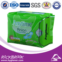 500 Packs = 5000 Pcs Anytime Brand 245mm Feminine Cotton Anion Active Oxygen And Negative Ion Sanitary Napkin For Women BSN500