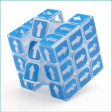 wilscoil Brand  Rubiks Cube Blue Transparent Cubo Magico 3x3x3 Arrow Neo cube Learning&Educational Puzzle Toys For Children