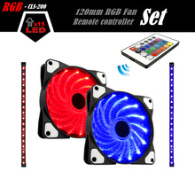 ALSEYE Computer Case Fan LED RGB Cooling Set 120mm, Remote control Cooling Fan, Dual 5050 RGB Strips and 2 Fans 12V 1300RPM Kit(China)