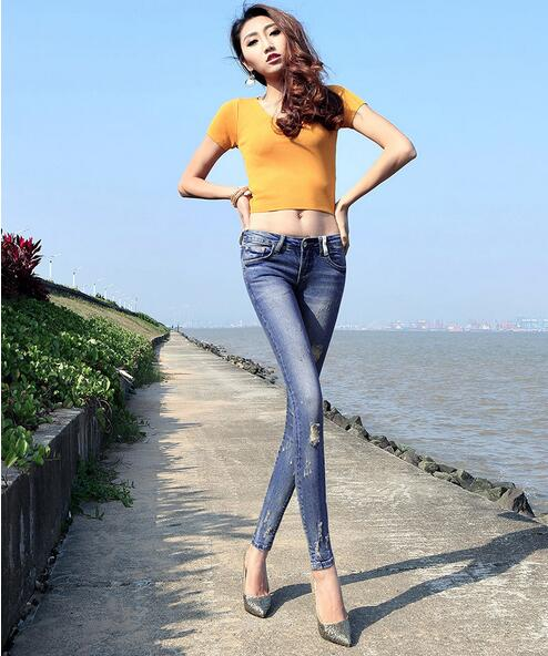 2017 summer top fashion sexy ripped hole woman denim pencil pants blue zipper button fly vintage low waist women jeans  D92Одежда и ак�е��уары<br><br><br>Aliexpress