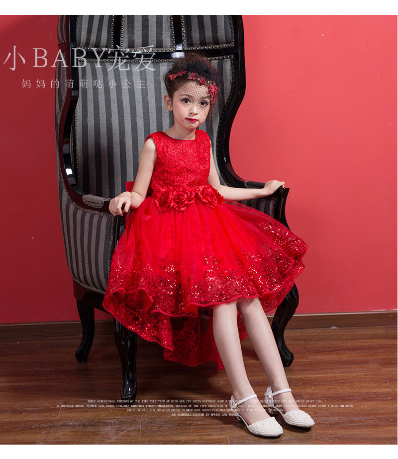 2017 new colletion flower girl dresses with big waist flower brouch, girl red formal party dress girl pageant lace dress<br>