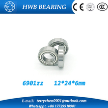 Free shipping 10pcs/Lot  6901ZZ  12x24x6mm Metric thin wall deep groove ball bearing  61901 6901 zz
