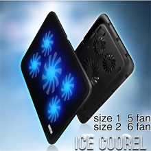 "Portable Slim 5 Fans 2 USB prots Notebook Cooling Pad Cooler Mat For Up To 17"" Laptop Computer USB Fan Stand with cable"