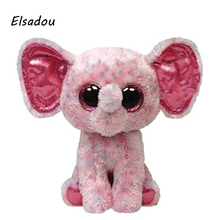 Elsadou Ty Beanie Boos Stuffed & Plush Animals Pink Elephant Toy Doll(China)