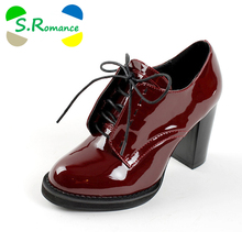 S.Romance Plus Size 32-43 Women Pumps Fashion Round Toe Lace-Up Sqaure High Heels Hot Sale Ankle Boots Woman Shoes Red SH388