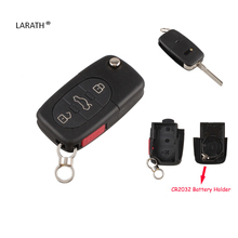 LARATH 4 Buttons Remote Flip Folding Key Shell Case Keyless Fob For Audi A4 A6 A8 TT Quattro S4 S6 S8 3+1 Panic CR2032 With LOGO