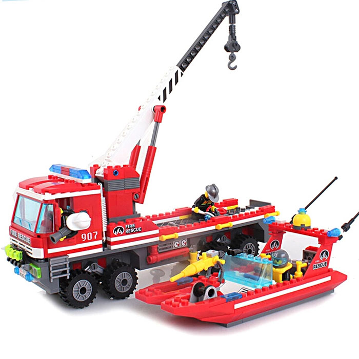 building block set compatible with lego city fire All terrain crane ship 3D Construction Brick Educational Hobbies Toys for Kids<br><br>Aliexpress