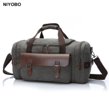 Multifunctional Men Travel Bags Large Capacity Women Luggage Duffle Bags Vintage Leather Canvas Weekend Bags Shoulder Bag Bolsa(China)