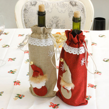 Merry Christmas Wine Bottle Cover Bags Champagne Gift Bags Xmas Christmas Decorations for Home Noel Natal New Year Decoration(China)