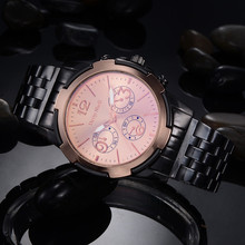 Chronometer Stylish casual clock Fashion Men Crystal Stainless Steel Analog Quartz Wrist Watch Bracelet Reloj Watches Business(China)