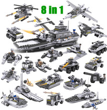8 in 1 Big Aircraft Carrier Model Building Blocks Model Fleet Submarine Warship Military Naval Ship Cogo 13007 Set