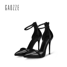 GAOZZE Sexy black women sandals high heels 2017 spring strap sandalia feminina pointed toe office leather stilettos sandals(China)