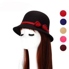 HT1214 New Fashion Women's Wool Felt Church Bowler Hats Imitate Wool Fedora Hats for Women Female Bucket Cloche Hats with Bow(China)