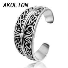 AKOLION cross flower bangles & bracelets for women and men jewelry pulseiras feminina mujer para mulheres pulsera masculina 2017(China)