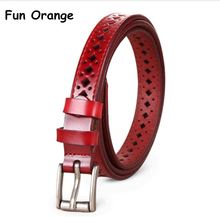 Fun Orange High Quality Women Leather Belts Vintage Pin Buckle Solid Ceinture Femme(China)
