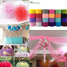 25y*5cm Tulle Roll Colorful Tissue Tulle Paper Baby Shower party Wedding Decoration Roll Spool Craft Birthday Holiday Decor.B(China)