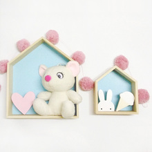 2017 Nordic Wooden House Frame Children Decorations Wall Hanging Storage Case Girls Decor Wood Shelf Kid's Room Box(China)