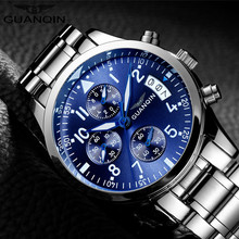 GUANQIN Chronograph Mens Watches Top Brand Luxury Quartz Watch Men Business Full Steel Waterproof Wristwatch Relogio Masculino(China)