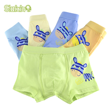 SLAIXIU 5 Pcs/lot Soft Organic Cotton Baby Children Underwear Kids Boys Underwear Boxer Briefs 2-12T Cartoon Animal Boy Panties(China)