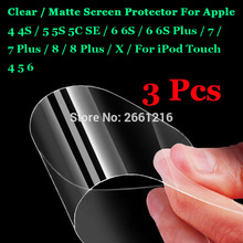 Buy 3 Pcs Apple iPhone 4 4S 5 5S 5C 6 6S 7 8 Plus X iPod Touch HD Clear /Anti-Glare Matte Front Screen Protector Touch Film for $1.29 in AliExpress store