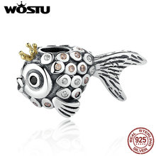 100% Real 925 Sterling Silver Delicate Goldfish Charm Beads Fit Original Pandora Bracelet Pendant Authentic DIY Jewelry Gift