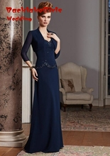 Chiffon Mother Of The Bride Dresses With Jacket Blue Godmother Dress For Party Over 2015 Fasion Vestido De Festa Longo Madrinha