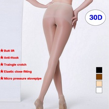 Buy 2017 newest 30D High density,butt lift micro pressure slimming legs pantyhose,anti hook sexy add-crotch Shiny pantyhose,M-XXL