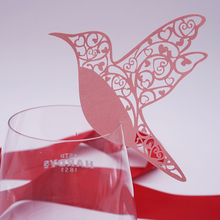 Hot  50pcs  Flying Birds Place Name Card Wine Glass Card Laser Cut Paper Cup Card Table Mark Wedding Party Decoration