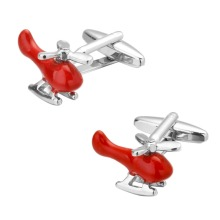 Helicopter Red En Arrival High Quality Gifts for Men Designer Cuff links Copper Material Red Plane Design CuffLinks Helicopter(China)