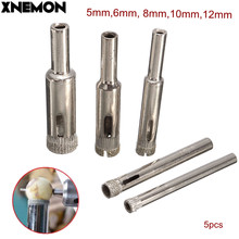XNEMON 5pcs/set 5-12mm Diamond Drill Bit Coated Dust Hole Saw Tile Marble Glass Cutter Ceramic Set 5 6 8 10 12mm