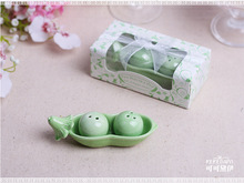 150sets Bean ceramic salt and pepper shakers wedding favors salt peper shakers wedding gifts Two peas in a pod